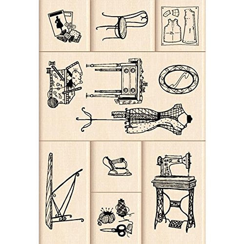 Inkadinkado Sewing Room Wood Stamp Set