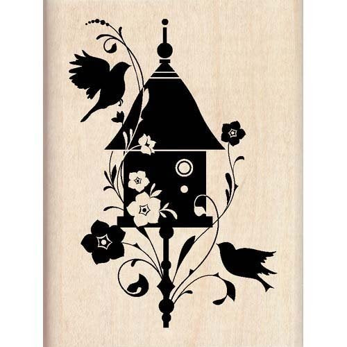 BIRDHOUSE FLOURISH Mounted Rubber Stamp InkaDinkaDo