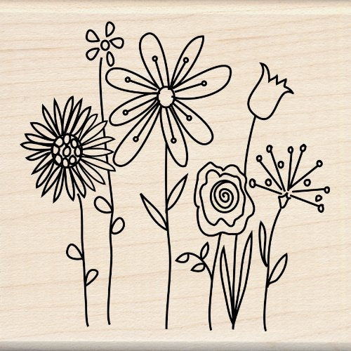 Inkadinkado Row of Flowers Wood Stamp