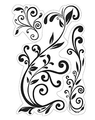 Inkadinkado Flower Flourishes Vines and Swirls Cling Rubber Stamp