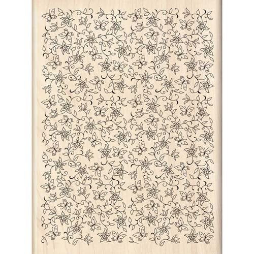 Flowers & Butterflies Background Wood Stamp | Inkadinkado