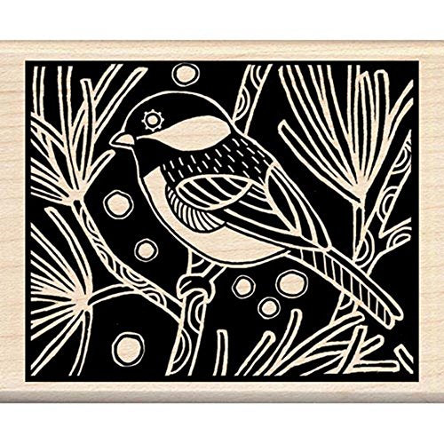 Inkadinkado Chickadee Woodcut Wood Stamp