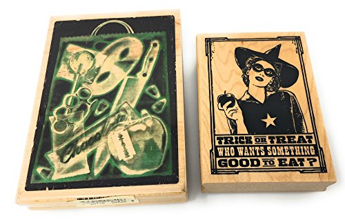 Inkadinkado Halloween Wood Block Stamp Bundle (2 Large Stamps)