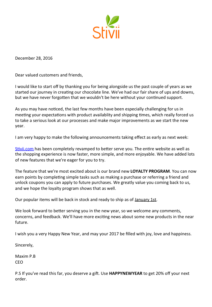 letter from stivii ceo
