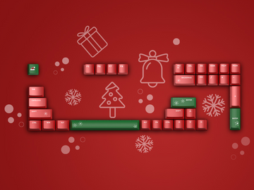 "IQUNIX ""Red Christmas"" UV Printed Cherry Profile ABS Keyset-zFrontier"