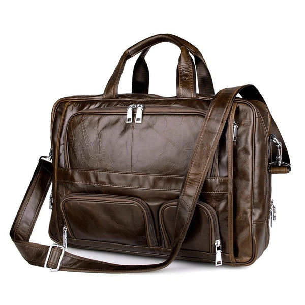 Large capacity 100% Cow Genuine leather bag men 17.5 inch high quality Laptop bag - orian gifts