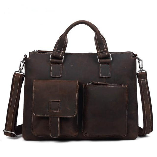 Genuine Leather Business Briefcase Handbag 15Inch Laptop Travel Shoulder Bag - orian gifts