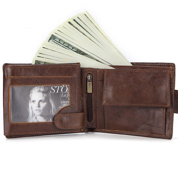 Genuine Leather Short Coin Purse Wallet For Men - orian gifts