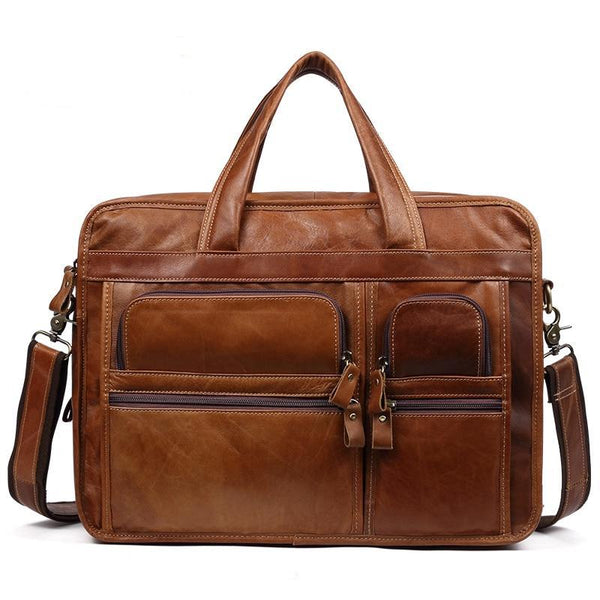 "Genuine Leather Briefcase Men 15"" Laptop Handbag Cow 3 Layers Business Messenger Bag - orian gifts"