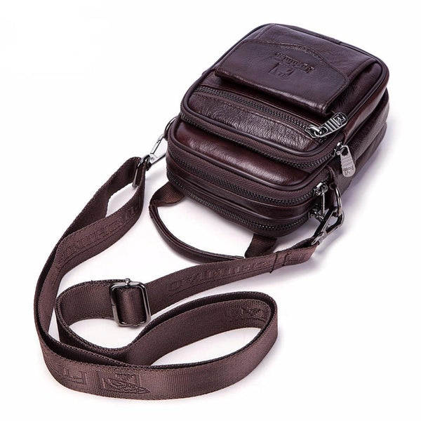 Small Genuine Cowhide Leather Men's Shoulder Bag - orian gifts