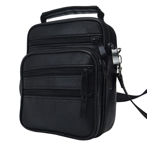 Black Genuine Leather Crossbody Messenger Bag - orian gifts