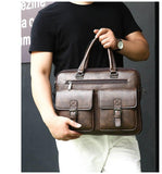 Men Split Leather Handbag Business Briefcases Bags - orian gifts