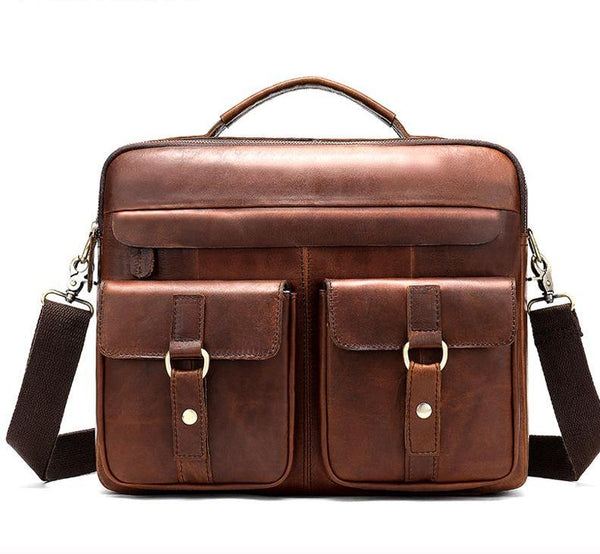 genuine leather briefcase laptop bag - orian gifts