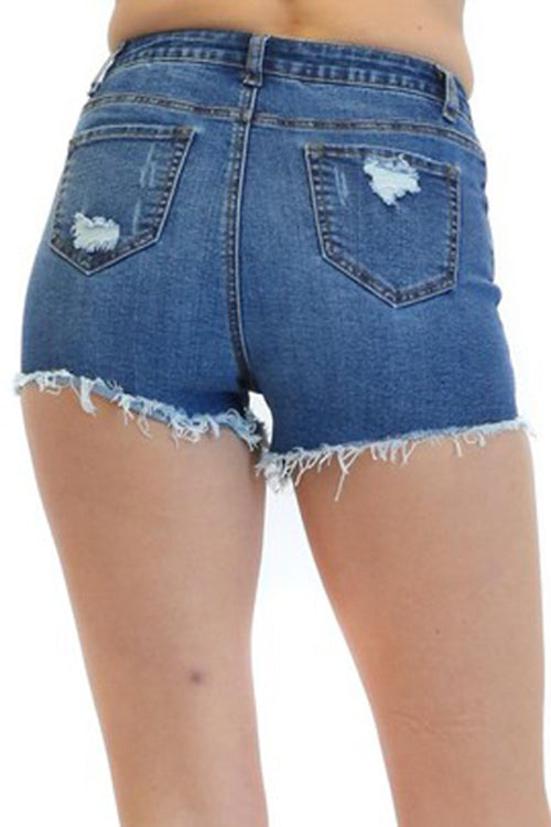 Destroyed Washed Denim Shorts with Comfort Stretch  l  LoveModa