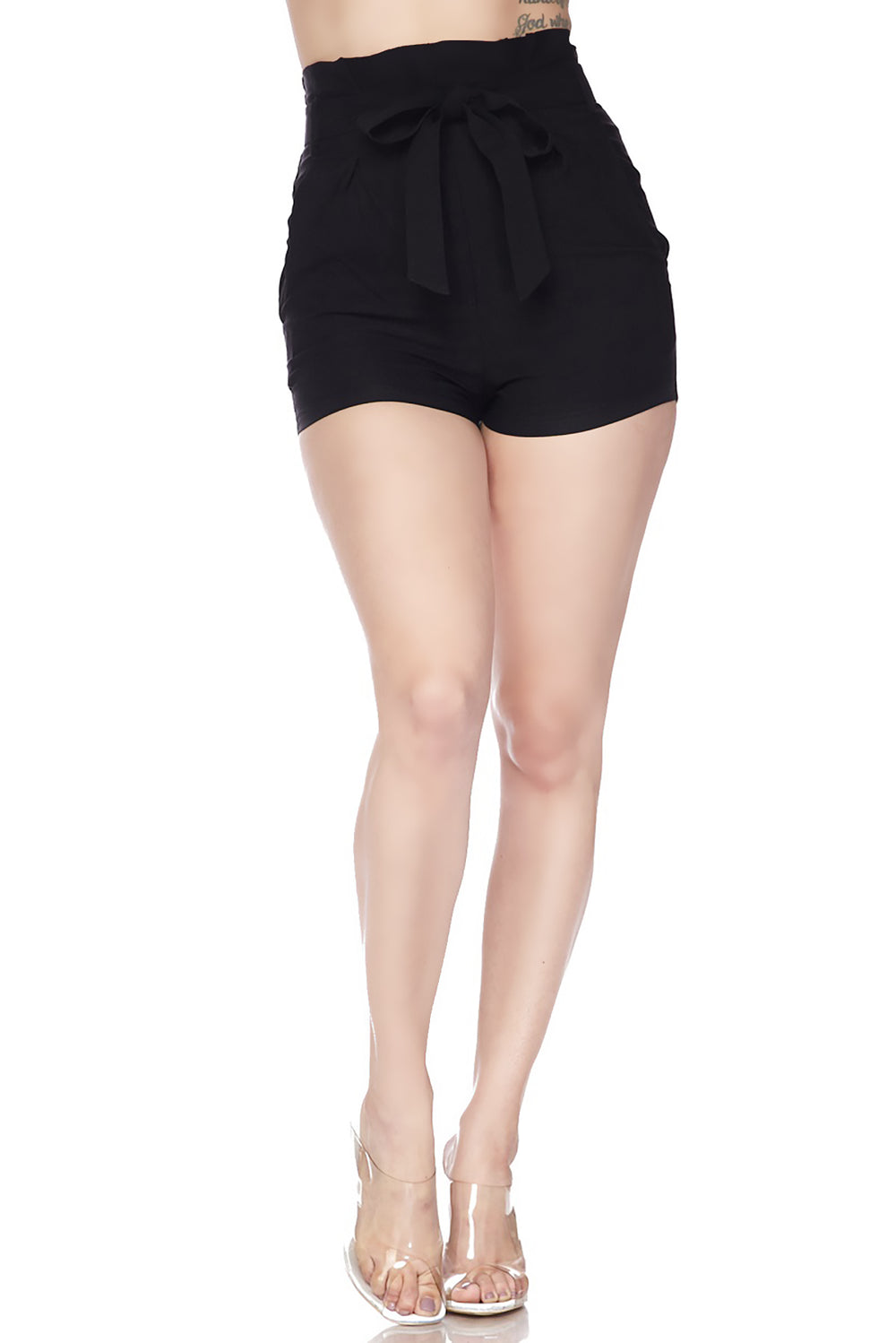 High Waist Bow Tie Front Spandex Shorts