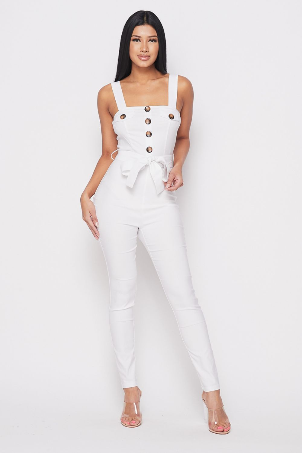 Big Button Bow Tie Front Jumpsuit