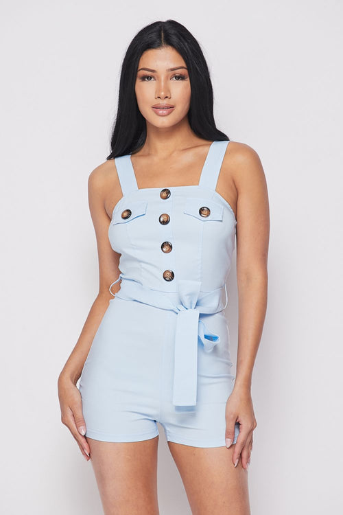 Big Button Bow Tie Front Romper
