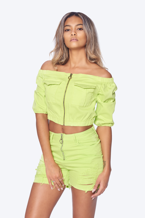 Front-Zip Off Shoulder Ruffled Cropped Top