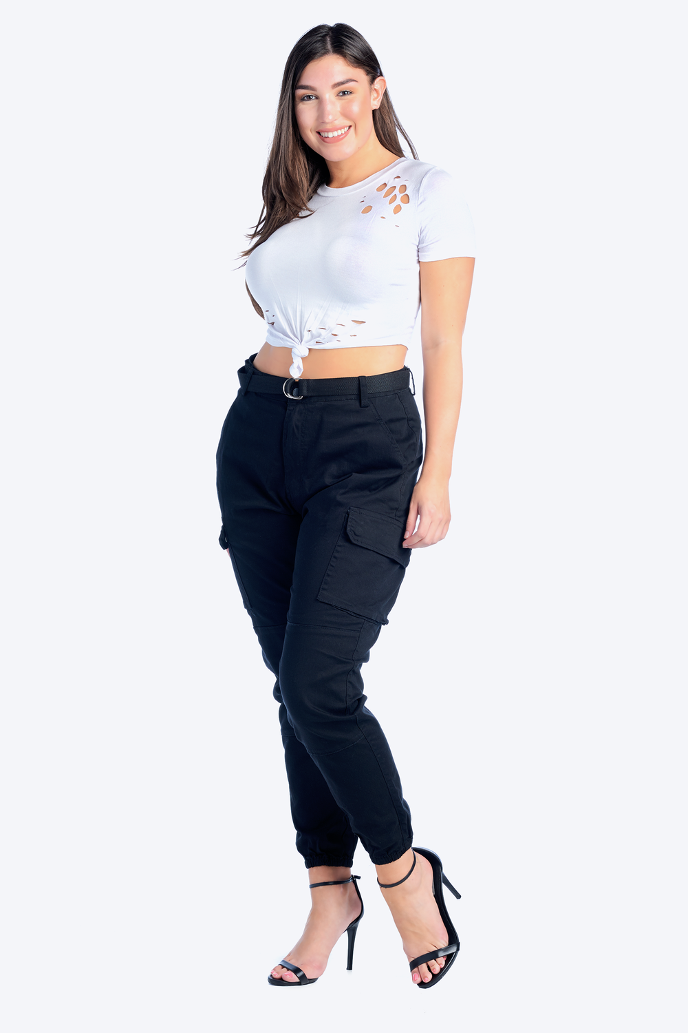 Plus Size High Rise Cargo Jogger with Belt