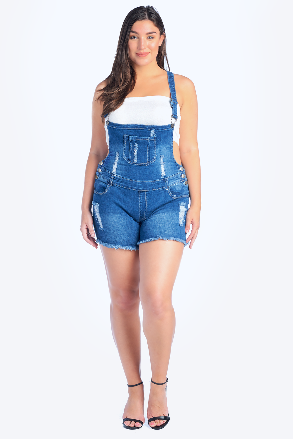 Distressed Denim Overall Shorts - Plus Size