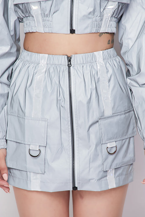 Flash Reflective Crop Jacket & Skirt Set