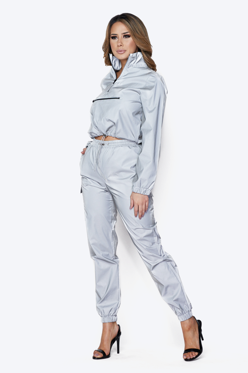 Flash Reflective Crop Jacket & Cargo Jogger Set