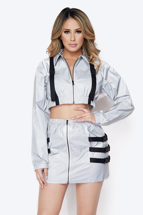 Flash Reflective Belted Crop Jacket & Skirt Set
