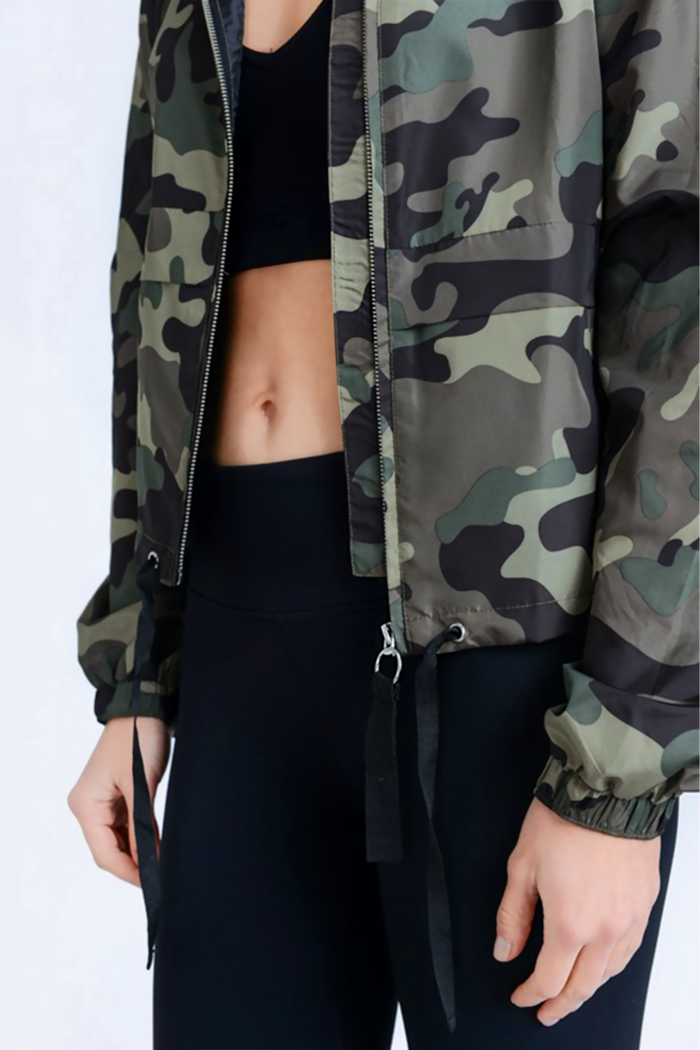 Lightweight Camo Print Windbreaker Jacket
