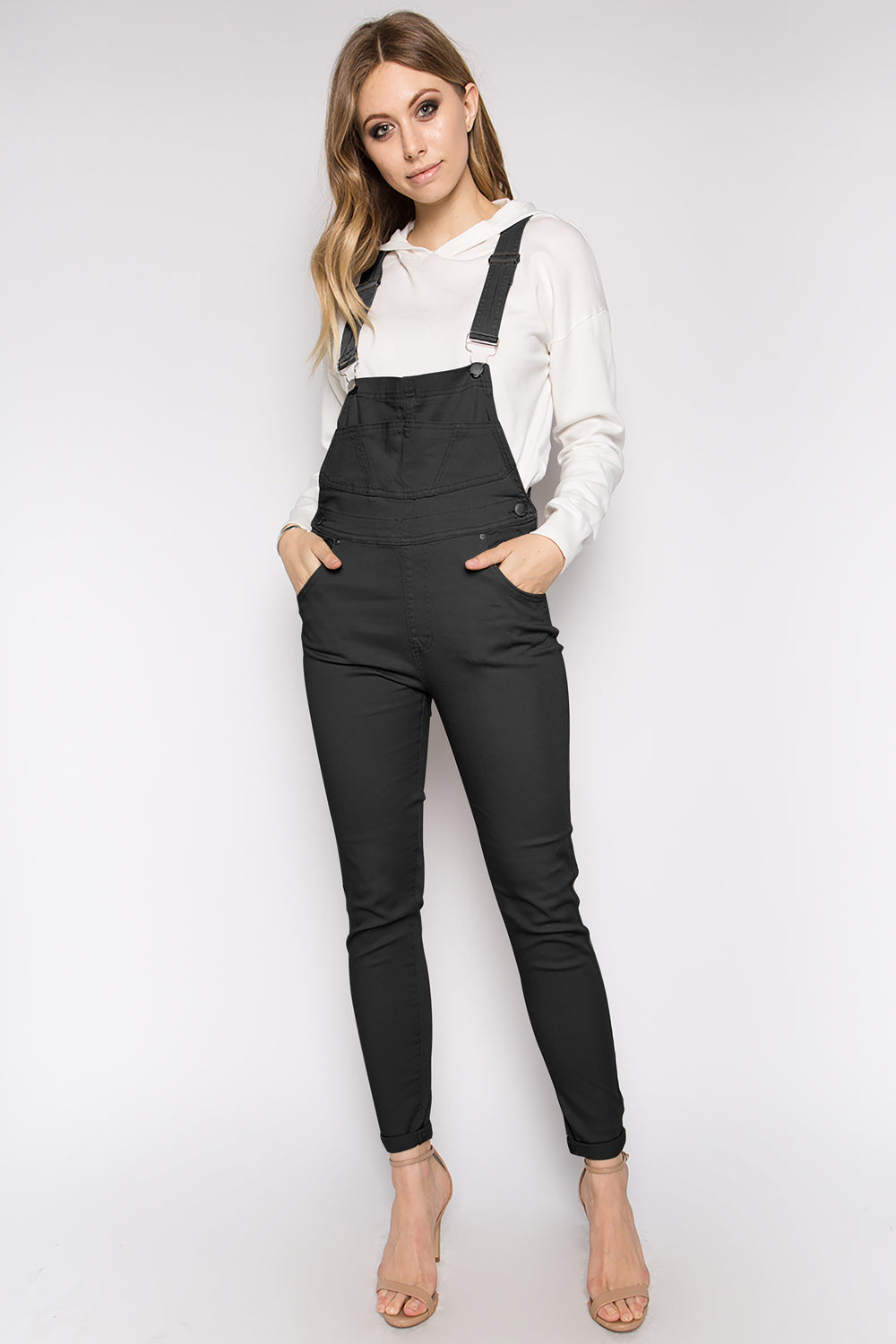 Solid Color Slim Twill Skinny Overalls  l  LoveModa