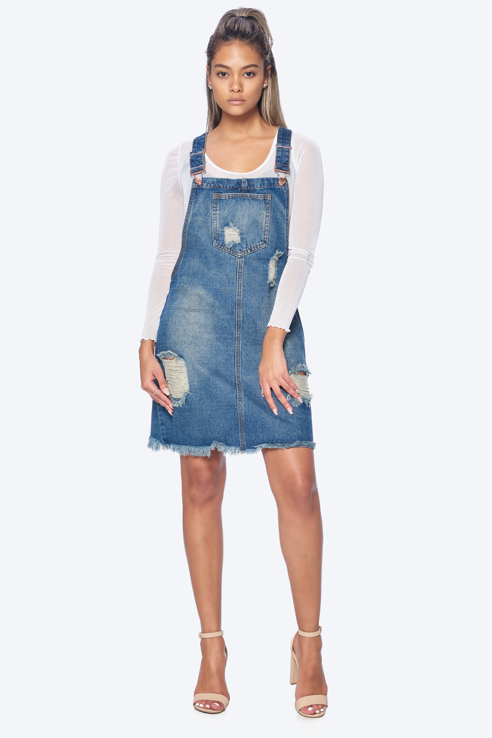 Distressed Boyfriend Overall Dress