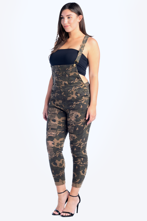 Plus Size Destroyed Stretch Twill Overalls