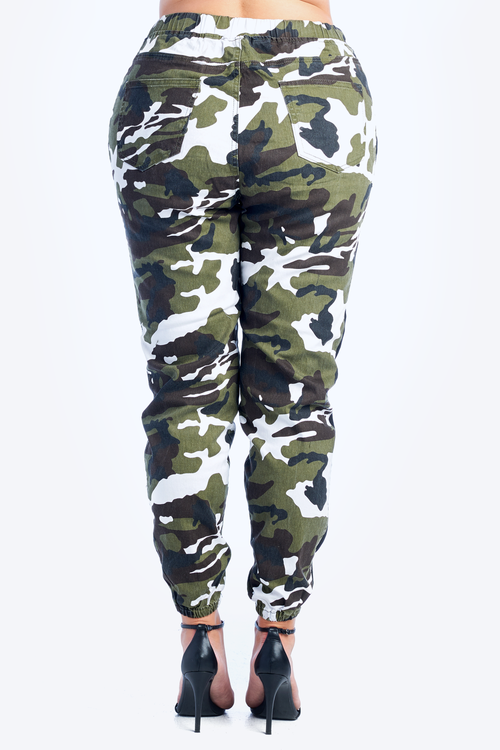 Plus Size Side Stripe Camo Print Twill Jogger