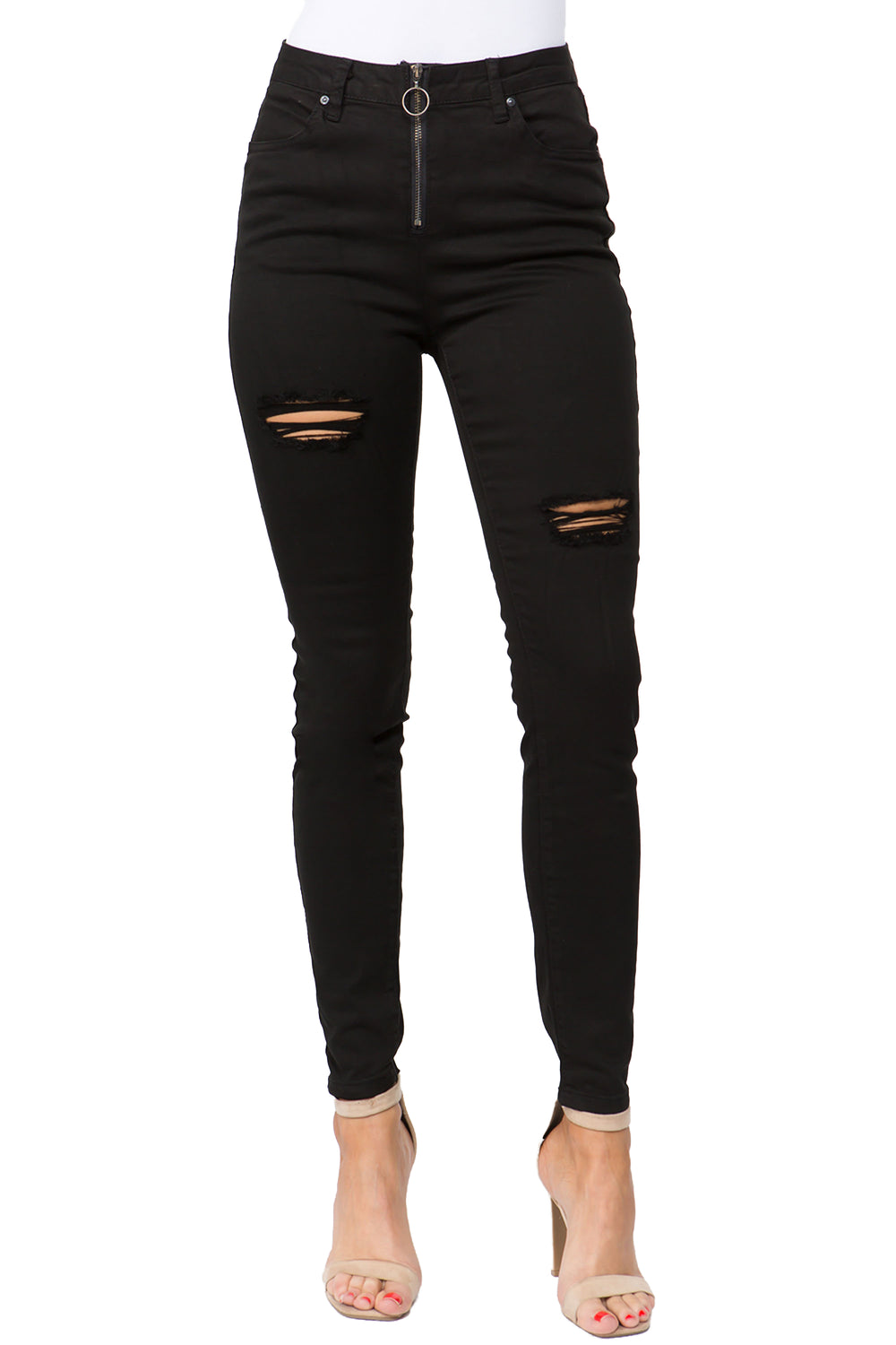 Pull-Ring Zip Up Distressed Pants