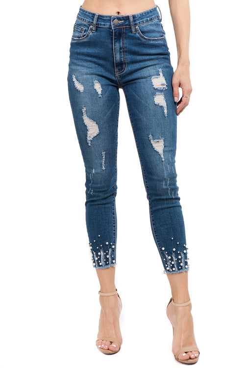 Distressed Fancy Pearl Stud Skinny Cropped Jeans