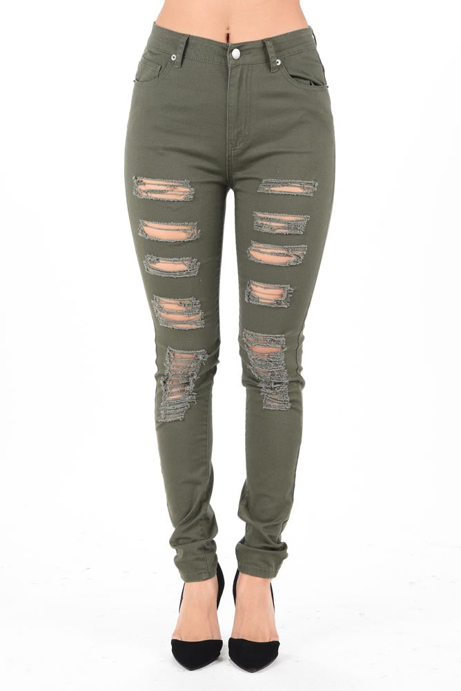 Distressed High Waist Camo Print/Color Skinny Pants