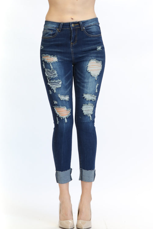 Women's High Rise Fold-Up Destroyed Skinny Jean  l  LoveModa
