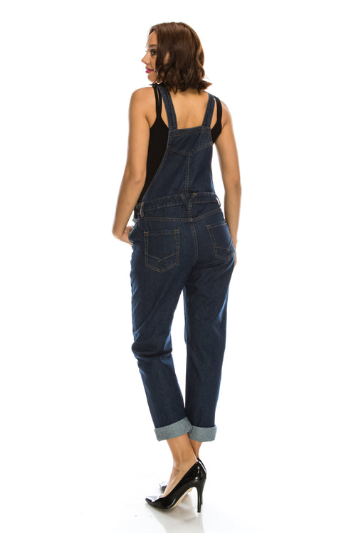 Basic Fit Denim Bib Overalls - Dark Blue  l  LoveModa