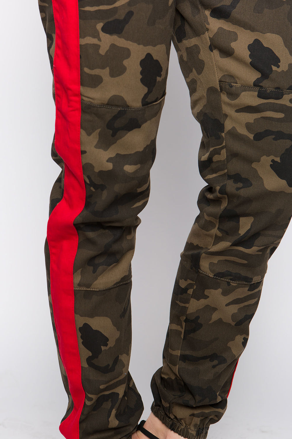 High Rise Camo Color Print Jogger Pants With Belt  - Red  l  LoveModa