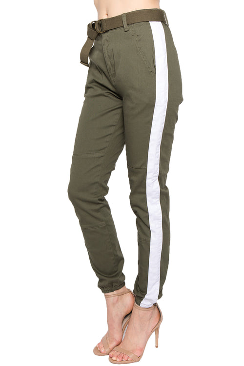 Women's Side Stripe High Rise Twill Jogger With Belt - White  l  LoveModa