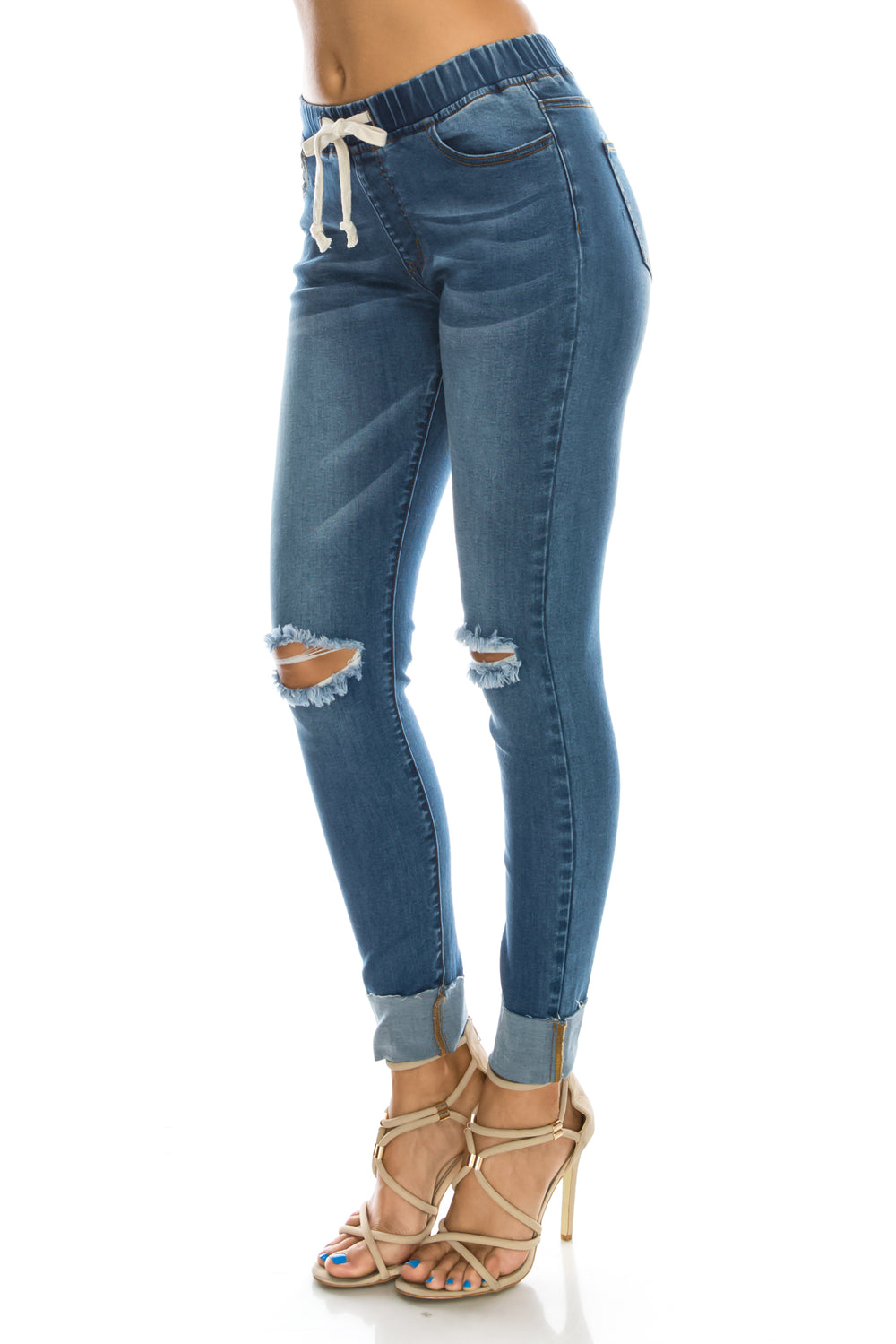 Women's Stretch Knee Cut Denim Skinny Jogger  l  LoveModa