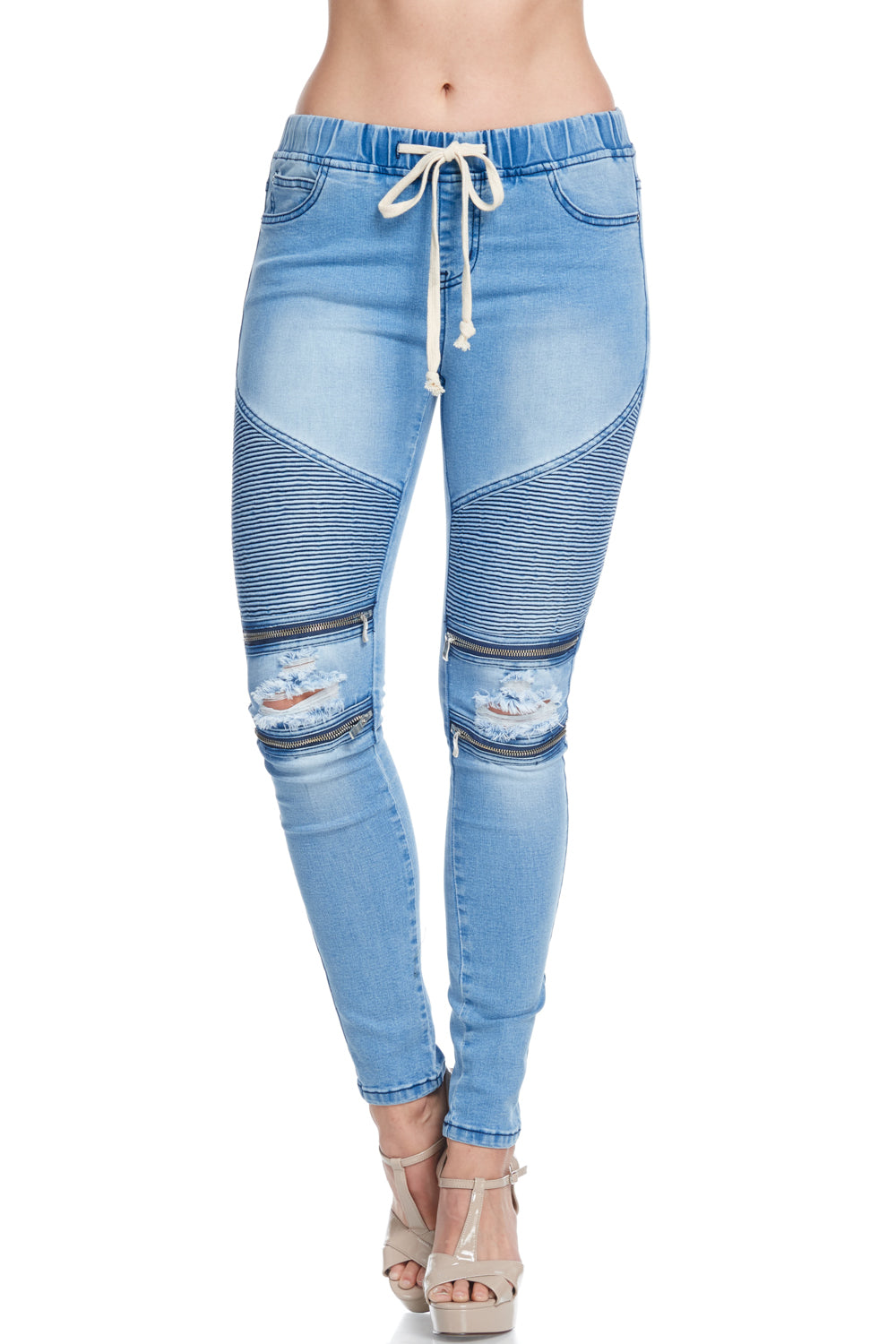 Women's Stretch Moto Denim Skinny Jogger  l  LoveModa
