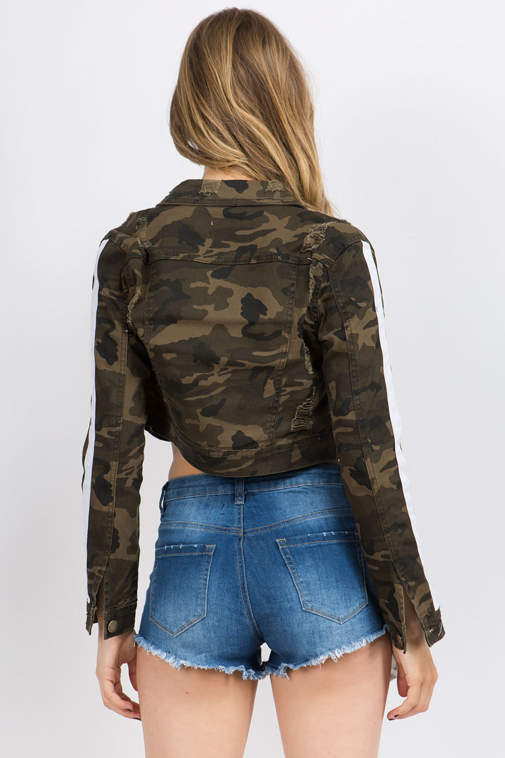 Casual Destroyed Button Down Denim Color Jacket - Camo  l  LoveModa