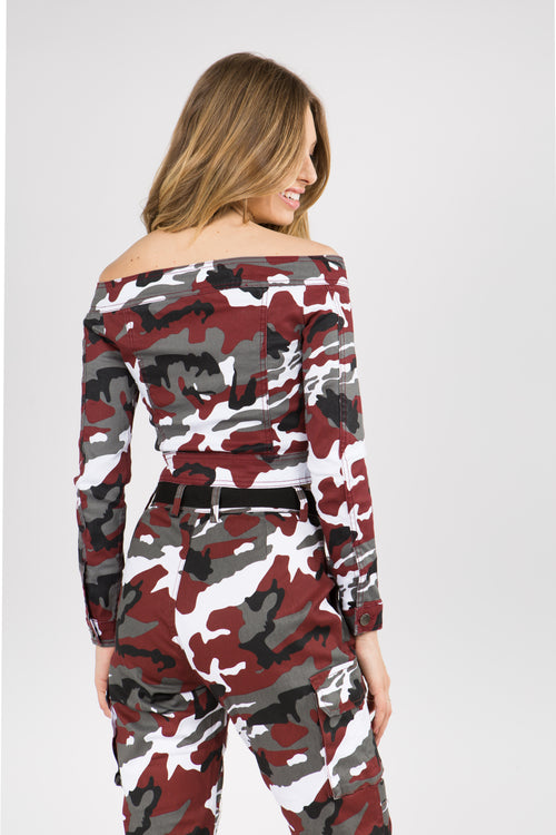 Off Shoulder Cropped Camo Print Jacket  l  LoveModa