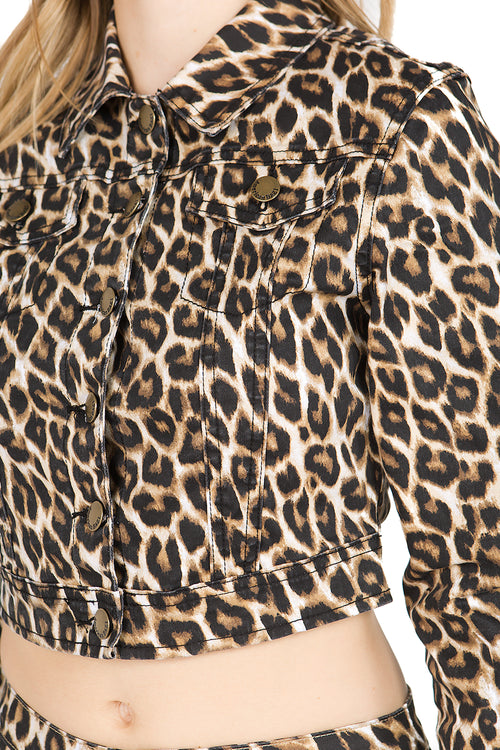 Button Up Leopard Twill Jacket  l  LoveModa