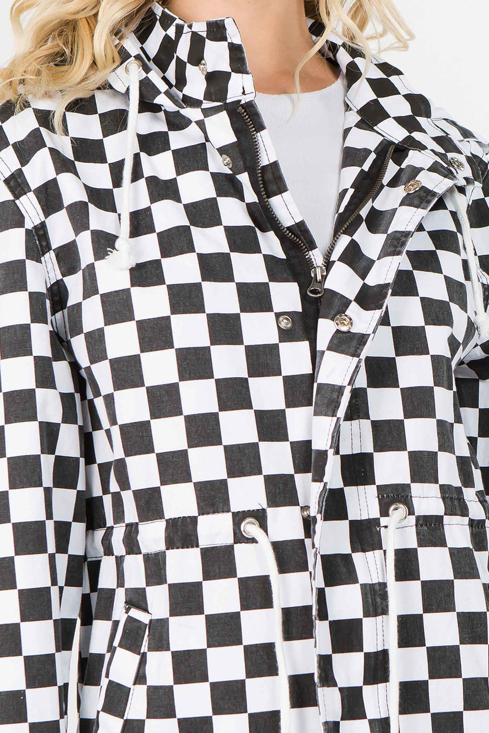 Checker Print Hoodie Zipper Closure Jacket  l  LoveModa