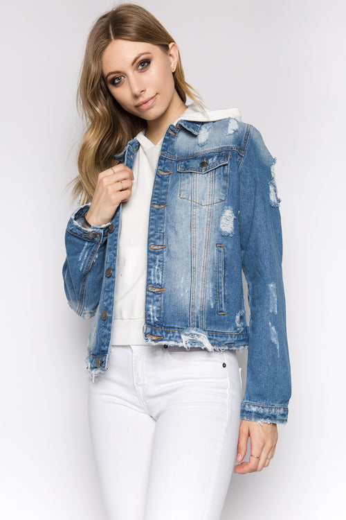 Destroyed Back Denim Jacket - Pink