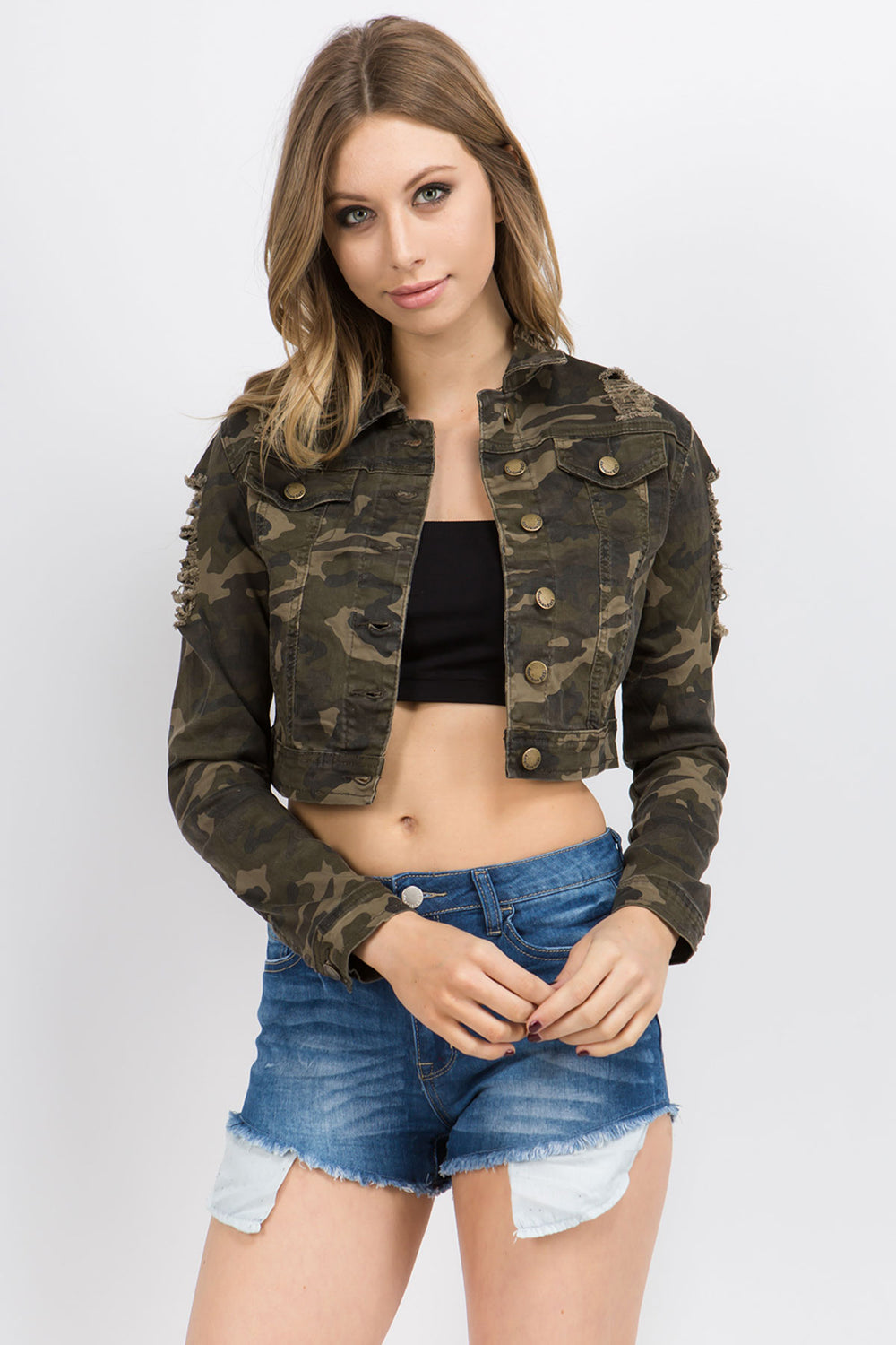 Destroyed Stretch Denim Twill Jackets  l  LoveModa