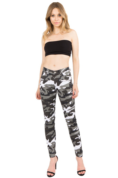 Low Rise Zipper Accent Camo Print Skinny Jeans  l  LoveModa
