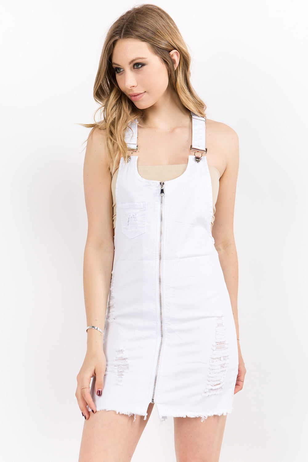 Front Zip Up Twill Overall Dress
