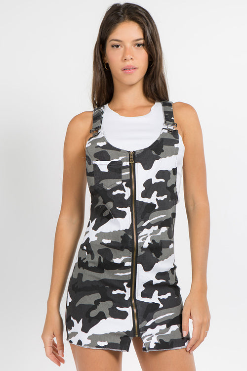 Camo Print Overall Dress with Zipper and Stretch  l  LoveModa